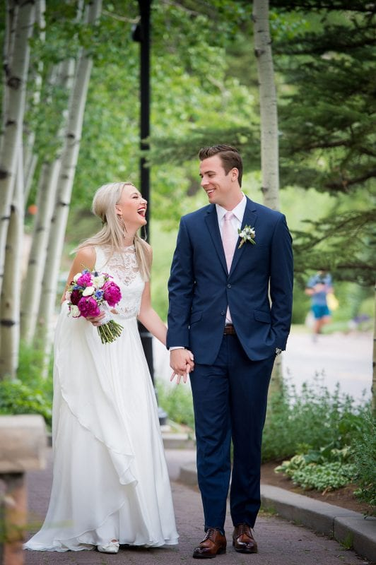 bride and groom in vail colorado